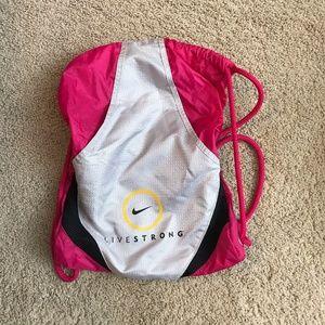 Nike gym bag, backpack, drawstring bag, livestrong